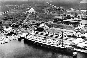 Tanjung Priok - The port with railway station in the background, sometime before 1940