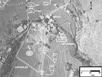 Battle of Wanat - Combat Outpost Kahler – 13 July 2008. Observation post is to the upper right of the main camp with buildings and mosque at and overlooking the edge of the northern perimeter