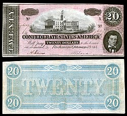 Tennessee State Capitol depicted on a 1864 Confederate $20 banknote