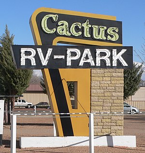 National Register of Historic Places listings in Quay County, New Mexico - Image: Cactus RV Park (Tucumcari, NM) sign from W