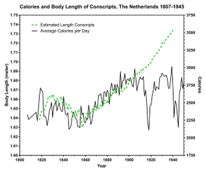 Thomas McKeown (physician) - Image: Calories Intake and Length of Dutch Conscripts