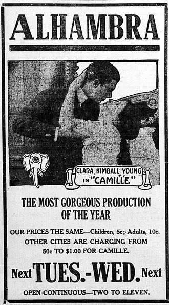 Camille (1915 film) - Advertisement for Camille, featuring Clara Kimball Young and Paul Capellani