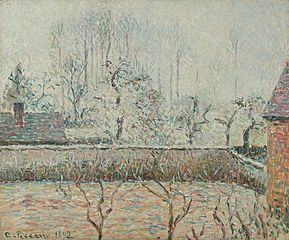 Landscape with Houses and a Wall, Mist and Frost, Éragny