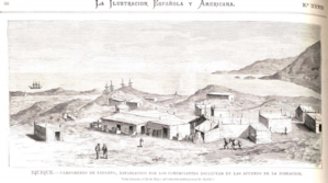 Expulsion of Chileans from Bolivia and Peru in 1879 - Spanish merchants at a makeshift storage location outside Iquique. (22 July 1879)