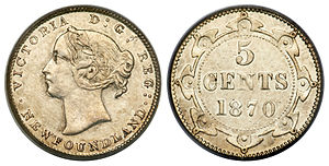 Newfoundland five cents - Image: Canada Newfoundland Victoria 5 Cents 1870 (Obverse 1)