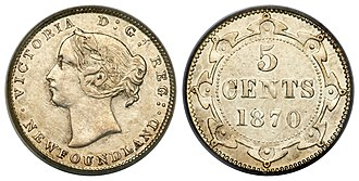 Coins of the Newfoundland dollar - Image: Canada Newfoundland Victoria 5 Cents 1870 (Obverse 1)