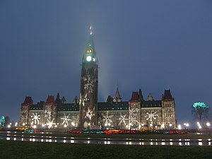Religion in Canada -  Centre Block of the Canadian Parliament in Ottawa showing Christmas decorations