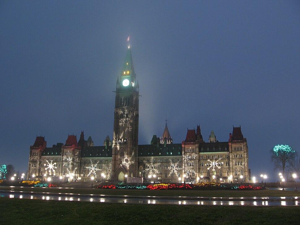 Canadian Parliament Centre Block showing winter decorations