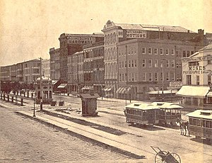 History of the Italians in Mississippi - 19th Century view of Canal Street in New Orleans, Louisiana