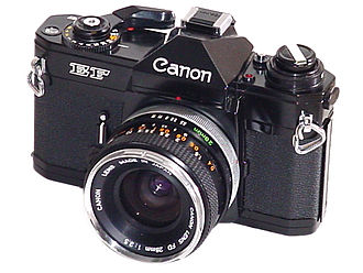 Canon EF camera - A Canon EF with 28mm Canon FD Lens