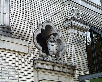 Pacific Building (Salem, Oregon) - Terra cotta facade detail is all that remains of the theater portion of the building