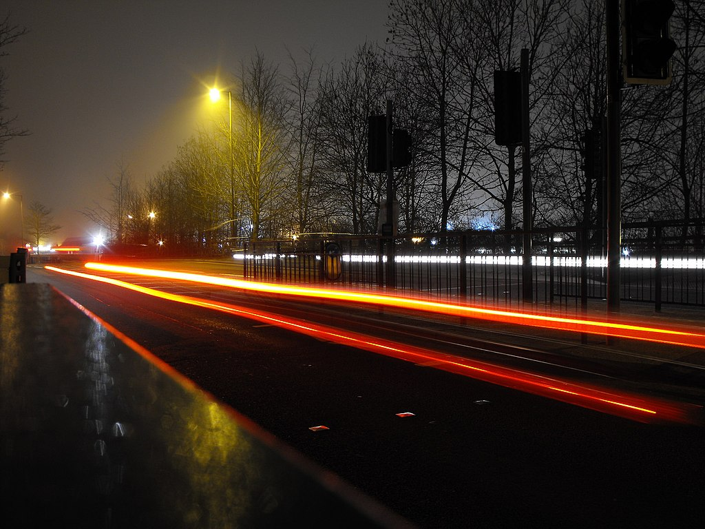File Car Light Trails On Sharsted Way Geograph Org Uk