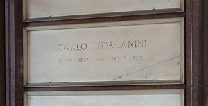 Carlo Forlanini - Carlo Forlanini's grave at the Cimitero Monumentale in Milan, in 2015.