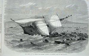 Print of the wreck of the Carnatic
