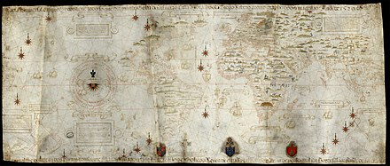 Made in 1529, the Diogo Ribeiro map was the first to show the Pacific at about its proper size Carta universal en que se contiene todo lo que del mundo se ha descubierto fasta agora hizola Diego Ribero cosmographo de su magestad, ano de 1529, en Sevilla.jpg