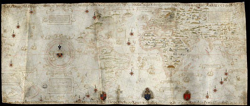 Carta universal en que se contiene todo lo que del mundo se ha descubierto fasta agora hizola Diego Ribero cosmographo de su magestad, ano de 1529, en Sevilla.jpg