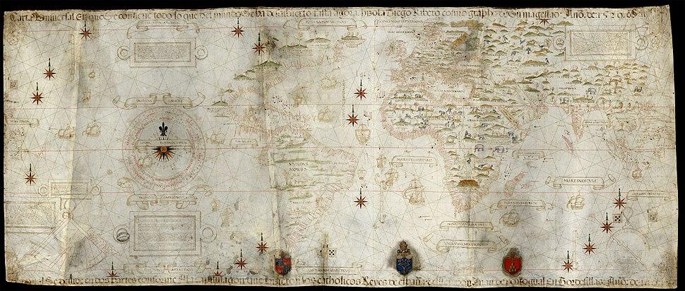 Carta universal en que se contiene todo lo que del mundo se ha descubierto fasta agora hizola Diego Ribero cosmographo de su magestad, ano de 1529, en Sevilla