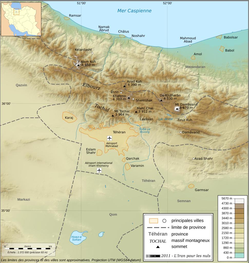 Carte Topo Region Teheran