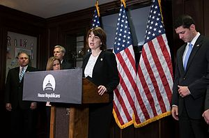 Cathy McMorris Rodgers - McMorris Rodgers speaking at a press conference with House leadership, including Speaker Paul Ryan, in Washington.