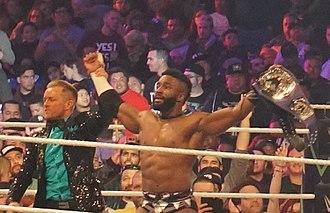 Cedric Alexander - Alexander after winning the WWE Cruiserweight Championship at WrestleMania 34