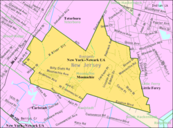 Census Bureau map of Moonachie, New Jersey