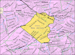 Census Bureau map of Springfield Township, Union County, New Jersey