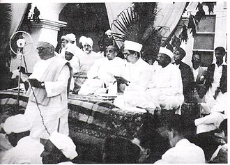 Ganesh Vasudev Mavalankar - Balvantrai Thakore, Sardar Patel and Ganesh Mavlankar at a ceremony held to celebrate the centenary year of the Ahmedabad Municipality, 1935