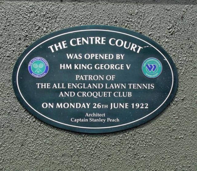 Photo of Stanley Peach, Centre Court, and George V blue plaque