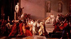 Mort de César   par Vincenzo Camuccini, 1798« Il s'était défendu, dit-on, contre les autres, et traînait son corps de côté et d'autre en poussant de grands cris. Mais quand il vit Brutus venir sur lui l'épée nue à la main, il se couvrit la tête de sa robe » (Plutarque)