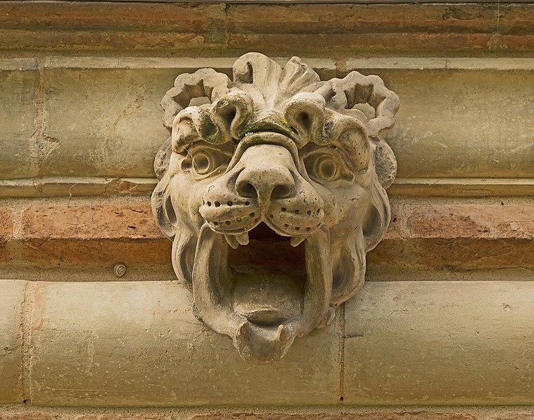 English:  Château de Launaguet. Lion head, terracotta by Auguste Virebent.