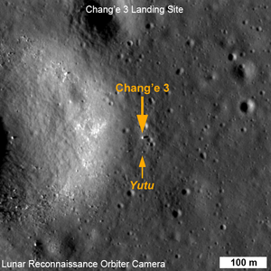 Chang'e 3 - LRO close-up image taken on 25 December 2013. The lander (large arrow) and rover (small arrow) can be seen.