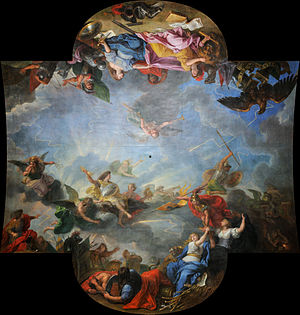 Charles Le Brun - Part of the ceilling of the Hall of Mirrors in the Palace of Versailles.