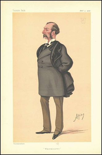 """Sir Charles Russell, 3rd Baronet - """"Westminster"""" Russell as caricatured by Ape (Carlo Pellegrini) in Vanity Fair, February 1878"""