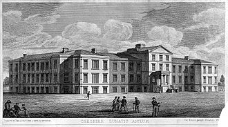 Countess of Chester Hospital - Cheshire Lunatic Asylum, engraving by Dean after Musgrove