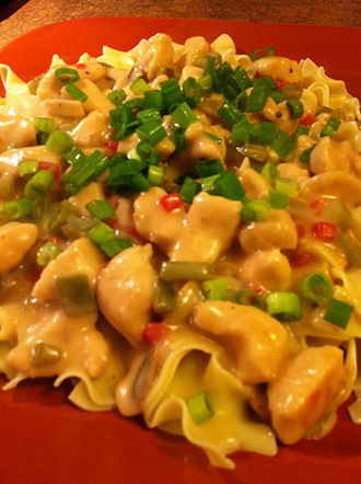 Chicken à la King - Chicken à la King prepared with egg noodles