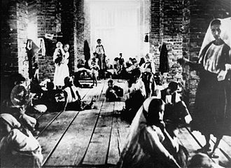 Stara Gradiška concentration camp - Mothers and children imprisoned in the tower of the concentration camp.