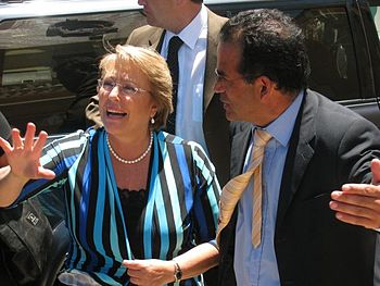 Chilean President Michelle Bachelet with Mayor of Pichilemu Roberto C%C3%B3rdova