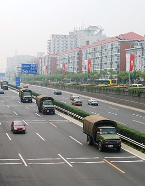 4th Ring Road (Beijing) - Image: Chinese military trucks in Bejing