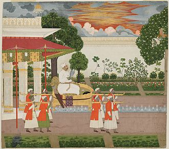Muhammad Shah - The Mughal Emperor Muhammad Shah with his Falcon visits the imperial garden at sunset on a palanquin.