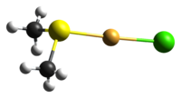 ball-and-stick model of the molecule derived from the crystal structure
