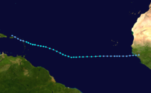 Map of a track through a portion of the Atlantic Ocean. The track spans from western Africa to the eastern Caribbean Sea. Northeastern South America can be seen in the bottom left of the image.