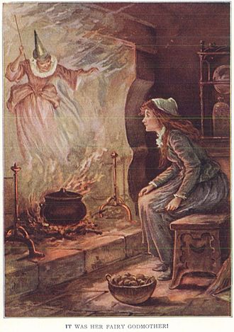 Cinderella - Oliver Herford illustrated Cinderella with the Fairy Godmother, inspired by Perrault's version.