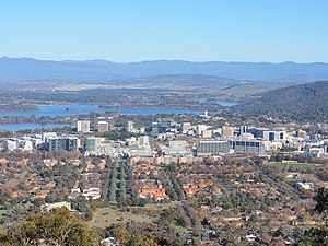 Civic, Australian Capital Territory - Civic viewed from Mount Ainslie with Lake Burley Griffin and Mount Stromlo in the background.