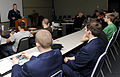 Civil Air Patrol Rushmore Composite Squadron cadet command chief, South Dakota Wing, delivers a speech.jpg
