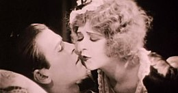Clara Bow + Donald Keith - Parisian Love (1925) kiss 2.jpg