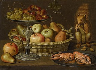 Still life with grapes on a tazza, a basket of fruit, two crayfish on a plate and a squirrel