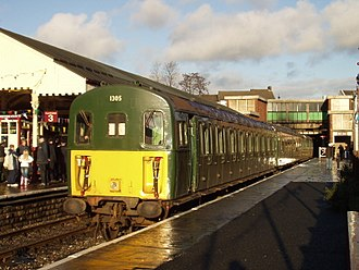 British Rail Class 207 - Class 207 1305 (207202 with a former Class 411 centre coach in place of the original) preserved at the East Lancashire Railway, Bury.