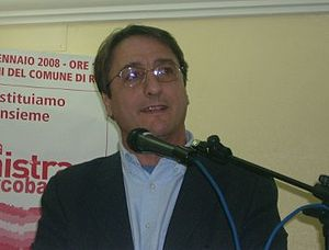 Claudio Fava at a conference in Ribera
