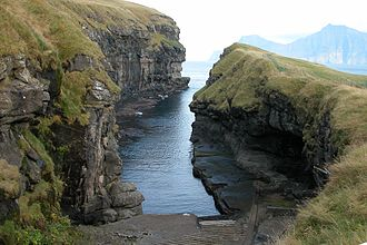 Gjógv - The gorge is the natural harbour of Gjógv.