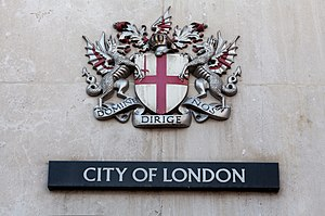 "City of London Corporation - Coat of arms of the City of London. The Latin motto reads Domine Dirige Nos, ""Lord, guide us""."